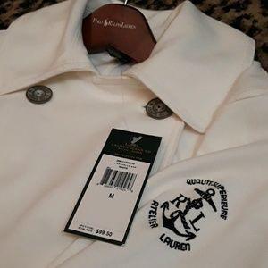 Ralph Lauren White Nautical Shirt Jacket Pea Coat